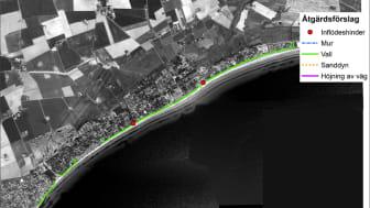 Bilden visar åtgärdsförslag för kustskydd i Beddingestrand.