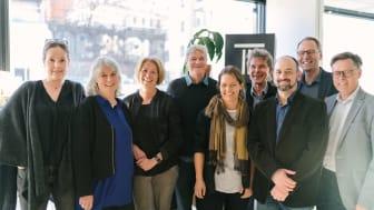 Från vänster: Ulrika Westerstrand, Eva RantaEskola, Johanna Frelin, Greger Wolter, Sandra Åhlén, Henrik Lehman, Owjan Pourmetrahi, Martin Karlsson, Jörgen Orback