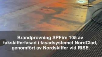 Brandtest SP Fire 105 av takskifferfasad