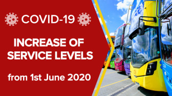 Bus service levels increasing from 1st June 2020