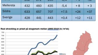 Real utveckling - Skogsmarkspriser halvår 2019