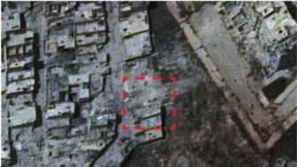 Satellitbild på bombat hus, Sheikh Maqsoud, Aleppo  © Digital Globe, Inc