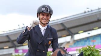 Under EM i Göteborg 2017 var det Juan Matute Guimon med Quantico som vann Lövsta Future Challenge International. Ekipaget tävlar numera i världscupen. Foto: Malin Larsson