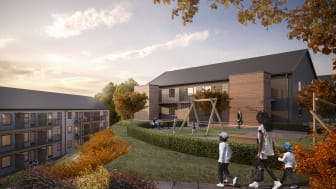 Ett av 7 hus i Brf Bergsjöbyn på Merkuriusgatan i Bergsjön där Egnahemsbolaget bygger 64 bostadsrätter tillsammans med Serneke..