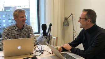 Will Needham och Jerker Lessing då de spelade in första avsnittet till podcasten Future Distributed tidigare i höst.
