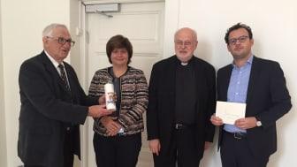 Överrabbin emeritus Morton Narrowe, rabbin i Stockholm Ute Steyer, kardinal Arborelius samt Aron Verständig, ordförande för Judiska Centralrådet.