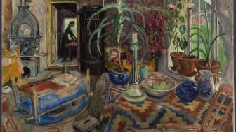 """Nikolai Astrups maleri """"Interiør med vugge"""" (1924)"""