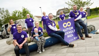 Mayor and Deputy Mayor, Cllrs William McCaughey and Matthew Armstrong, Cllrs Danny Donnelly and Cheryl Johnston and son Lyle; with Joanne Keown (Autism NI), Petr Zvolsky (Autism Ref Group), Dr Petra Corr and Jayne Colville (NHSCT) and Mary O'Boyle