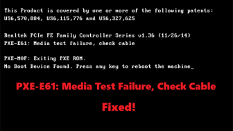 pxe e61 media test failure