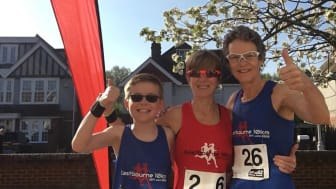 Home run: Liz Lumber (right) and family replaced their cancelled London Marathon with a lockdown marathon in their East Sussex garden