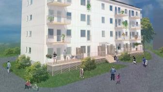 Illustration av de kommande husen, BoKlok i Norrbacka, etapp 1