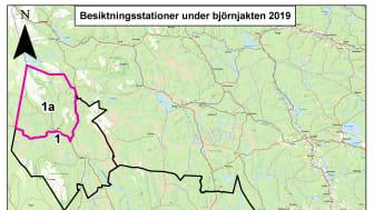 Karta som visar de olika områdena för 2019 års björnjakt, inklusive de två fasta besiktningsstationerna.