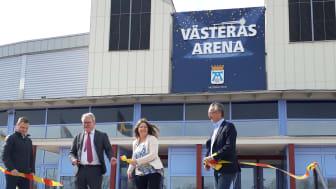 Jan-Erik Lahti, Anders Teljebäck, Vicki Skure-Eriksson och Thomas Högström vid namngivningsceremonin för Västerås Arena onsdagen den 8 april 2020. Foto: Stefan Tielinen, Västerås stad