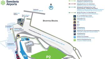 En utförlig karta över den provisoriska färdvägen med de olika enheternas placering. Illustration: Swedavia