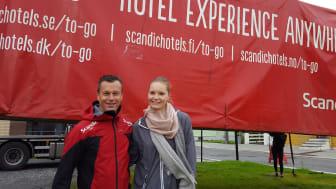 F.v: Direktør for de to øvrige Scandic-hotellene i Bodø, Henry Hansen. Michaela Blomqvist, Direktør for Scandic To Go.