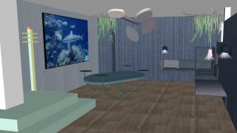 Visionsbild av rummet, framtagen av arkitektbyrån Bittra Britta.