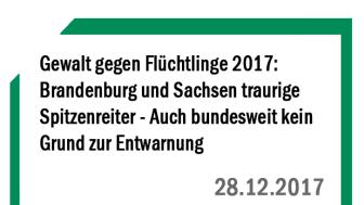 Gewalt gegen Flüchtlinge 2017: Brandenburg und Sachsen traurige Spitzenreiter - Auch bundesweit kein Grund zur Entwarnung