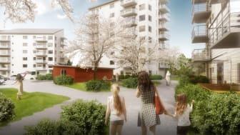 Framför de tre punkthusen finns den gröna gården med många mötesplatser för alla generationer.