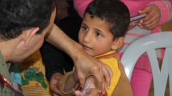 Syriska barn vaccineras mot mässling och polio