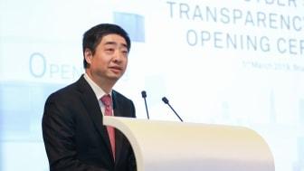 Ken Hu, Rotating Chairman för Huawei, vid tisdagens invigning av Cyber Security Transparency Centre i Bryssel.