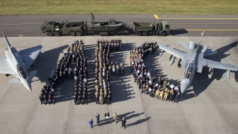 Members of Moray armed forces and civilian supporters spell out AFC (Armed Forces Covenant) at the signing ceremony