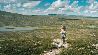 Lättillgänglig fjällvandring är Grövelsjöns signum. Här är det nära till storslagna vyer och många olika alternativ för den som vill vandra. Foto: Erik Kilström/Visit Dalarna.