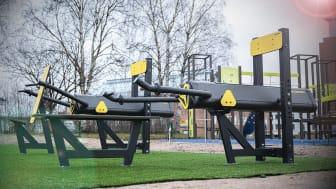 Sisu Fitness i anslutning till en lekpark i Rovaniemi, Finland