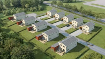 De tio villorna i Nöbbele Park byggs i två modeller om 122 och 138 kvm.