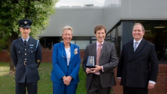 Adrian Dickens, Adder CEO, is presented the Queen's Award for Enterprise by Lord Lieutenant, Mrs Julie Spence OBE QPM