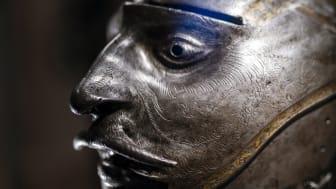 Gustav Vasas Burgundiska hjälm med maskvisir, 1540 som tillhör Livrustkammaren. Visas i Kalmar slotts utställning Gustav Vasa talar ur skägget, en utställning om makt. Pågår tom 8 nov 2020.