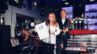 Gry Forssell tar emot priset som Årets Programledare på Radiogalan 2018.