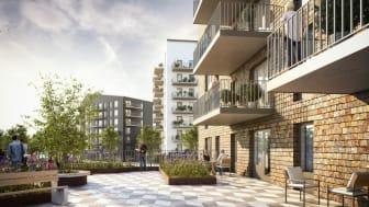De nya husen på Bäckby planeras få stora gemensamma terrasser på våning 8 och 10.