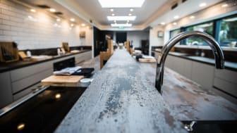 Dekton® Trilium bordplader og overflader i den britiske Michelin-restaurant, The Woodspeen.
