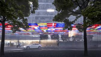 Det vinnande förslaget för utformning av det nya hotellet på Göteborg Landvetter Airport har gjorts av arkitekt Gert Wingårdh. Illustration: Wingårdh Arkitekter
