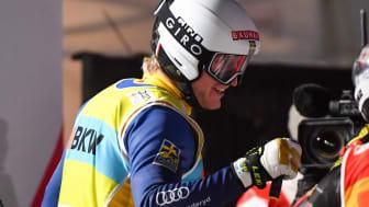 Giro är ny samarbetspartner till skicrosslandslaget och när Viktor Andersson vann Arosa använde han företagets produkter. Foto: Bildbyrån