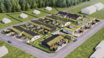 Gröna tak, eller sedumtak, skapar liv och grönska i Brf Längtan.
