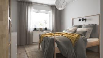 Illustration av interiör, sovrum, BoKlok småhus, 2020.