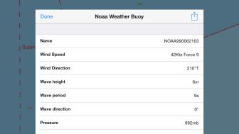 NavLink UK app showing weather buoy data for Channel Light Vessel