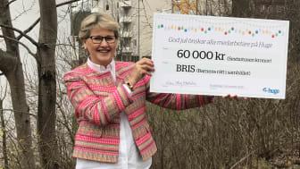 – Det känns fint i hjärtat att vi bidragit till Bris verksamhet. Vi lever i en väldigt annorlunda situation i år och vet också att många familjer lever under större press och att en väldigt skör grupp är barn, säger Huges vd Karin Strömberg Ekström.
