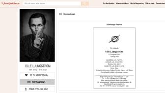 När musikern Olle Ljungström gick bort var fansen inte sena att hylla hans gärning i hand minnesrum familjesidan.se