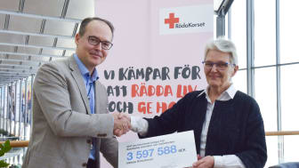 Swedavia's chief executive, Jonas Abrahamsson, hands over a check for 3.6 million kronor to the president of the Swedish Red Cross, Margareta Wahlström. Photo: Frida Weberg