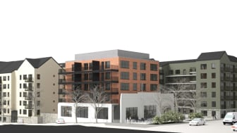 MKB förvärvar fastigheten där Hedbergs Bil en gång fanns. Planen är att bygga 230 nya hyresbostäder. Illustration: Arkitekthuset.