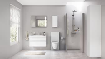 Flera smarta funktioner finns redan för våra badrum. Som t ex Geberit Monolith, som tänder belysningen när någon närmar sig, beröringsfria spolplattor eller Geberit Duofresh som neutraliserar dålig lukt innan den sprider sig i badrummet.