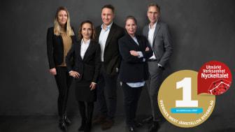 HSB Bostads ledningsgrupp: Linda Younes, Wafa Knutson, Jonas Erkenborn, Johanna Berg & Mats Persson. Fotograf: Daniel Gual