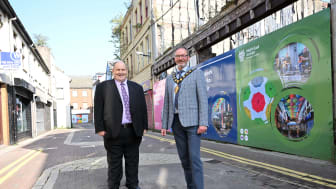 Pictured is Cllr Gregg McKeen, Chair of Councils Borough Growth Committee and Mayor Cllr William McCaughey on Dunluce Street, Larne.