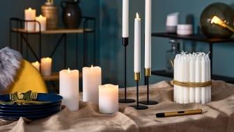 LED-kynttilöiden myynti on kasvanut säännöllisesti Clas Ohlsonilla. Suosituimpia ovat pöytäkynttilät.