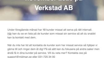 Verkstad e-posttjänst: Serviceuppföljning för kunder som missat serva.