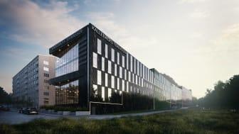 Skiss över hur kontorsbyggnaden i Kallebäcks Terrasser kommer att se ut.