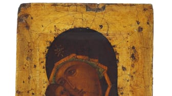 Russian icon depicting the Mother of God with the child