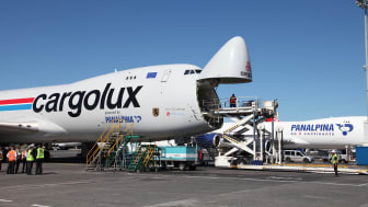 A Cargolux and a Panalpina Boeing 747-8 Freighter are parked at Luxembourg Airport. (Photo by Panalpina)